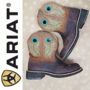 ARAIAT Embroidered Leather Cowgirl Boots